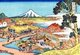 'Thirty-six Views of Mount Fuji' is an 'ukiyo-e' series of large, color woodblock prints by the Japanese artist Katsushika Hokusai (1760–1849). The series depicts Mount Fuji in differing seasons and weather conditions from a variety of places and distances.<br/><br/>  It actually consists of 46 prints created between 1826 and 1833. The first 36 were included in the original publication and, due to their popularity, 10 more were added after the original publication.<br/><br/>  Mount Fuji is the highest mountain in Japan at 3,776 m (12,389 ft). An active stratovolcano that last erupted in 1707–08, Mount Fuji lies about 100 km southwest of Tokyo. Mount Fuji's exceptionally symmetrical cone is a well-known symbol and icon of Japan and is frequently depicted in art and photographs. It is one of Japan's 'Three Holy Mountains' along with Mount Tate and Mount Haku.<br/><br/>  Fuji is nowadays frequently visited by sightseers and climbers. It is thought that the first ascent was in 663 CE by an anonymous monk. The summit has been thought of as sacred since ancient times and was forbidden to women until the Meiji Era. Ancient samurai used the base of the mountain as a remote training area, near the present-day town of Gotemba.